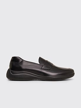 Prada Brushed Leather Sport Loafers Black