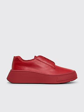 Prada Leather Lace Up Shoes Scarlet Red