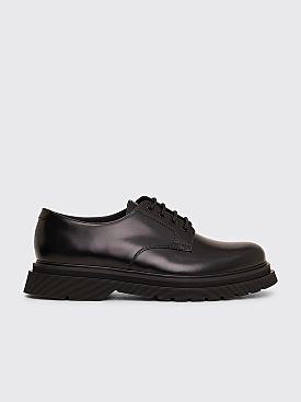 Prada Leather Lace Up Derby Shoes Black