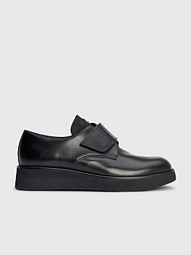 Prada Velcro Strap Leather Derby Shoes Black