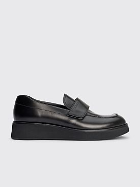 Prada Velcro Strap Leather Loafers Black