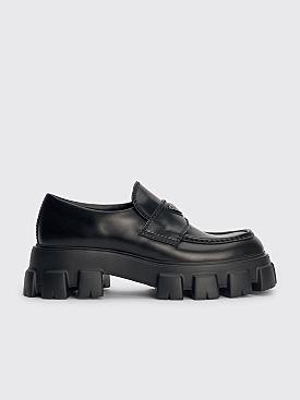 Prada Monolith Brushed Leather Loafers Black