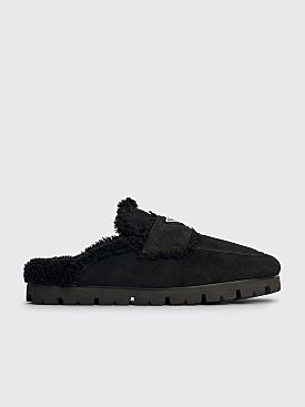 Prada Shearling Slippers Black