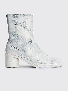 Maison Margiela Leather Tabi Ankle Boots Painted White