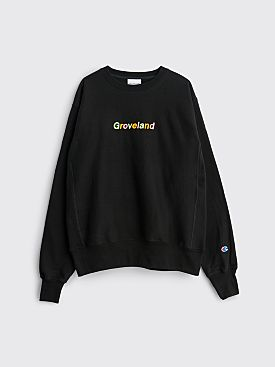 Groveland New Order Logo Crewneck Sweatshirt Black
