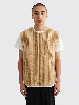 Homme Plissé Issey Miyake Pleated Fleece Vest Beige