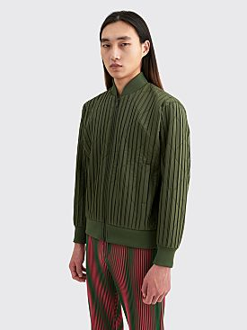 Homme Plissé Issey Miyake Pleated Padded Jacket Olive Green