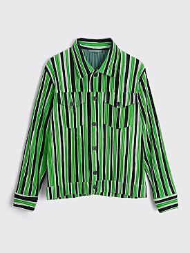 Homme Plissé Issey Miyake Pleated Tailored Jacket Lime Black Stripe