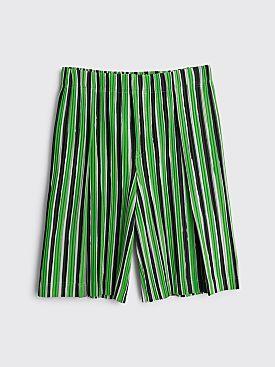 Homme Plissé Issey Miyake Pleated Shorts Lime Black Stripe