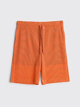 Homme Plissé Issey Miyake Pleated Drawstring Mesh Shorts Orange