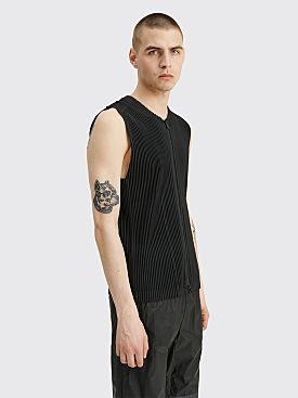 Homme Plissé Issey Miyake Pleated Zip Up Vest Black