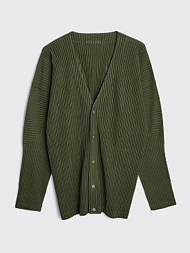 Homme Plissé Issey Miyake Pleated Cardigan Shirt Cedar Leaf Green
