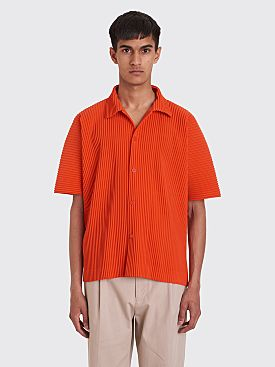 Homme Plissé Issey Miyake Pleated Polo Shirt Red