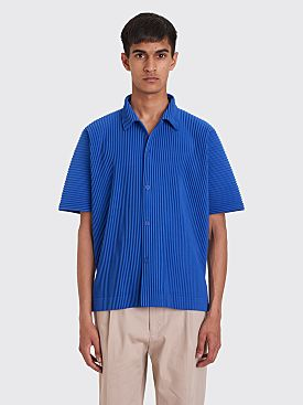 Homme Plissé Issey Miyake Pleated Polo Shirt Blue