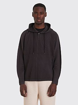 Homme Plissé Issey Miyake Pleated Hooded Sweatshirt Dark Grey