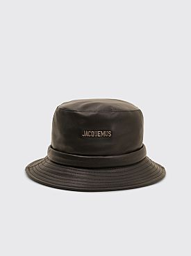 Jacquemus Le Bob Leather Bucket Hat Black