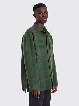 Jacquemus En Maille Knitted Wool Jacket Checkered Green