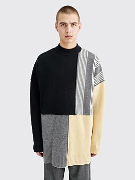 Jil Sander Knitted Wool Block Sweater Black