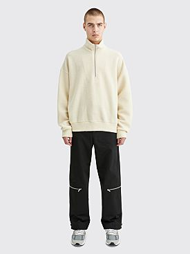 Jil Sander Half Zip Wool Sweater Natural