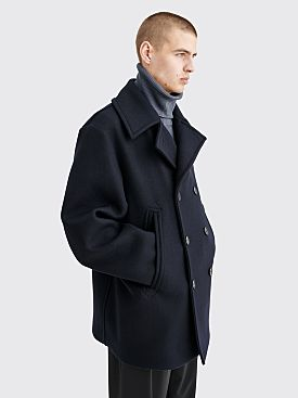 Jil Sander Wool Peacoat Jacket Dark Navy