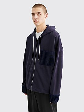Jil Sander Hooded Jersey Zip Sweatshirt Dark Blue