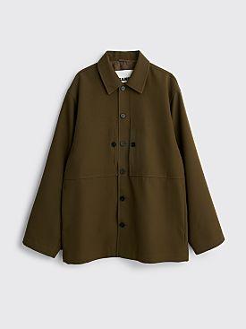 Jil Sander Fluid Wool Gabardine Jacket Medium Green