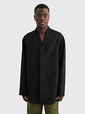 Jil Sander Fine Wool V Collar Shirt Black