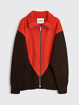 Jil Sander Knitted Sweater With Zipper Brown / Red