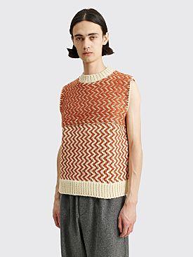 Jil Sander Knitted Vest Brown / White