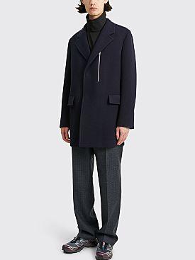Jil Sander Single Breasted Wool Coat Navy