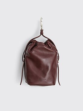 Jil Sander Leather Drawstring Hook Pouch Dark Purple