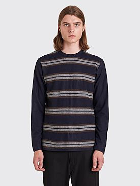 Junya Watanabe MAN LS Jersey Wool T-shirt Stripe Navy