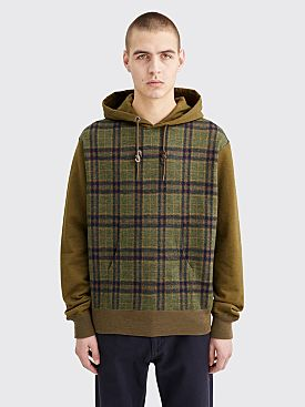Junya Watanabe MAN Hooded Wool Sweater Checkered Khaki