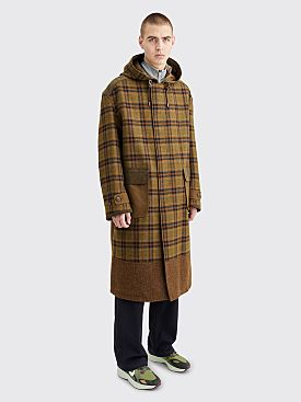 Junya Watanabe MAN Panel Wool Coat Checkered Brown / Green