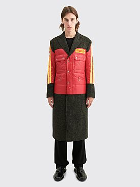 Junya Watanabe MAN x Pirelli Nylon Taffeta Wool Tweed Coat Red / Black