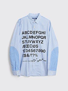 Junya Watanabe MAN Graphic Button Up Shirt Blue / White