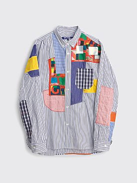 Junya Watanabe MAN Patchwork Shirt White / Navy Mix
