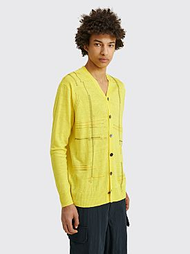 Junya Watanabe MAN Embroidered Linen Cardigan Yellow