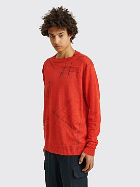 Junya Watanabe MAN Embroidered Linen Sweater Red