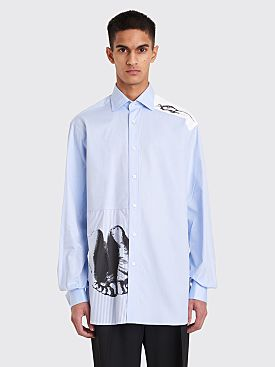 JW Anderson Durer Feet And Mouse Print Formal Shirt Blue