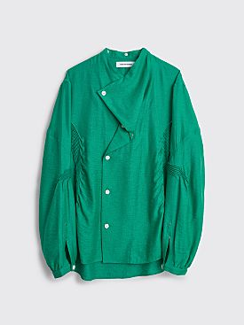 Kiko Kostadinov Anthonis Pleated Shirt Emerald Green / Light Grey