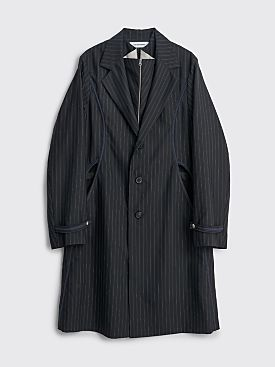Kiko Kostadinov Freydal Tailored Long Coat 3M Navy Pinstripe