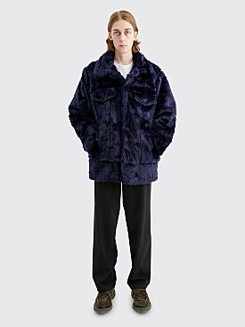 Landlord New York Faux Fur Oversized Jacket Navy