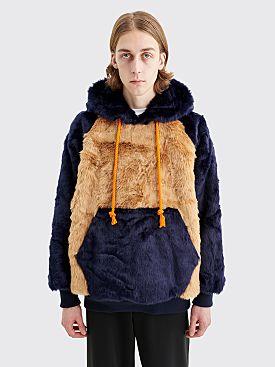 Landlord New York Faux Fur Hooded Sweatshirt Tan / Navy