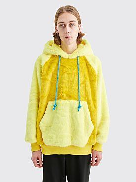 Landlord New York Faux Fur Hooded Sweatshirt Yellow