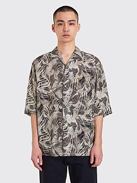 Lemaire Convertible Collar Short Sleeve Shirt Chalk Black
