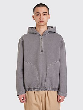 Lemaire Hooded Zipped Sweatshirt Stone Grey