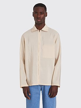 Lemaire High Neck Top Dry Silk Biscuit White