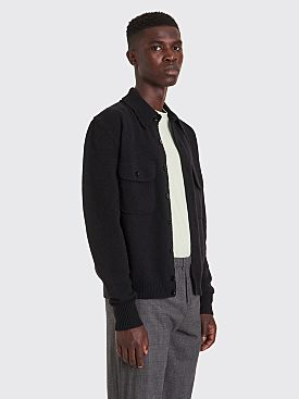 Lemaire Knitted Military Wool Shirt Black