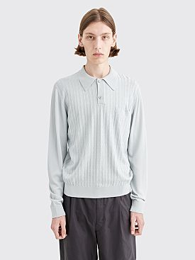 Lemaire Long Sleeves Knitted Polo Aluminium